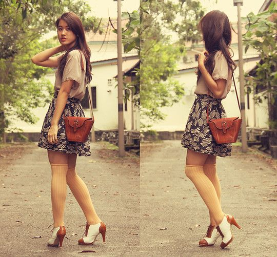 Brown Leather Sling Bag, Ted Baker Leaf Printed Skirt, Oxfords, Silk Top