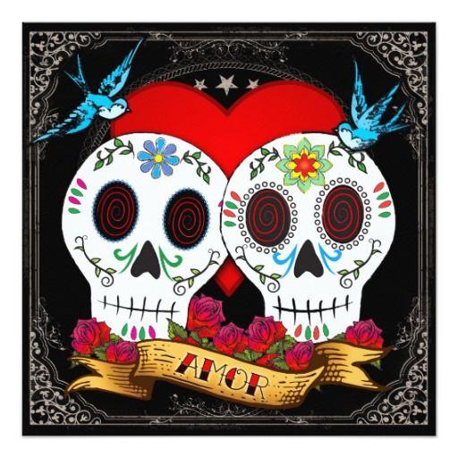 199 best valentines wedding invitations images on pinterest love skulls square invitation stopboris Images