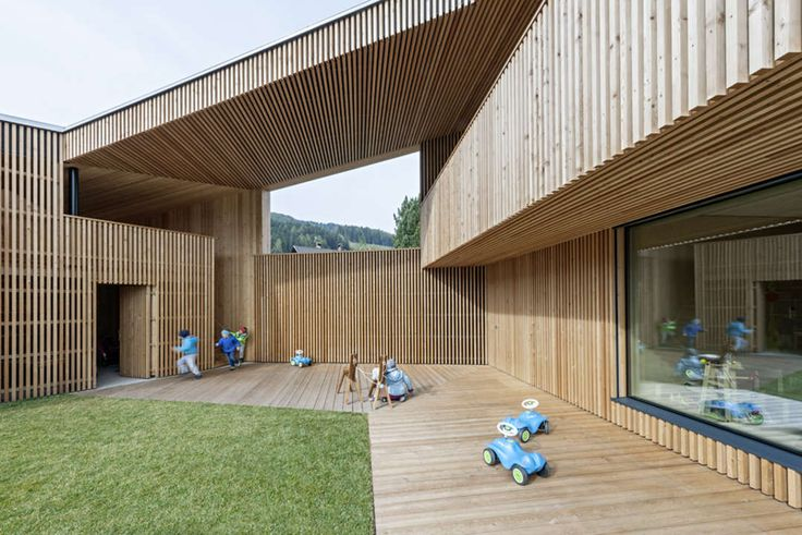 Nestling within the village structure of Valdaora di Sotto in South Tyrol, the kindergarten building communicates the interplay between tradition, contempora...