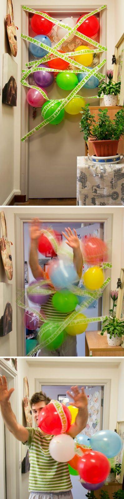 Birthday balloon avalanche / finish line!