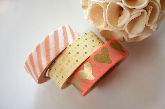 Pink/Gold Washi Tape Set of 3 by TheWashiShop on Etsy