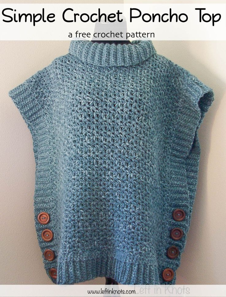 cba8f8797150ff This simple crocheted poncho sweater pattern uses bulky yarn and large  buttons to create this fall wardrobe essential. Ribbing along the edge add  a nice ...