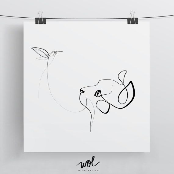 Black and White Cat Art | One Line Drawing | Cat Art | Cat Gift | Cat Portrait | Hummingbird Print | Calligraphy Print | Single Line DrawingBritta Kohl