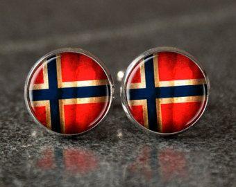 boutons de manchettes drapeau norvégien manchette, cadeau, idée cadeau, hommes boutons de manchette, boutons de manchette de mariage, vintage, vintage style