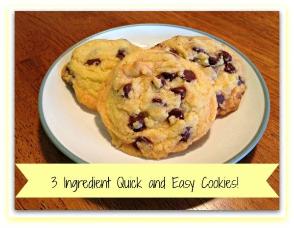 I found this recipe that calls for only 3 ingredients! Such quick and easy cookies!