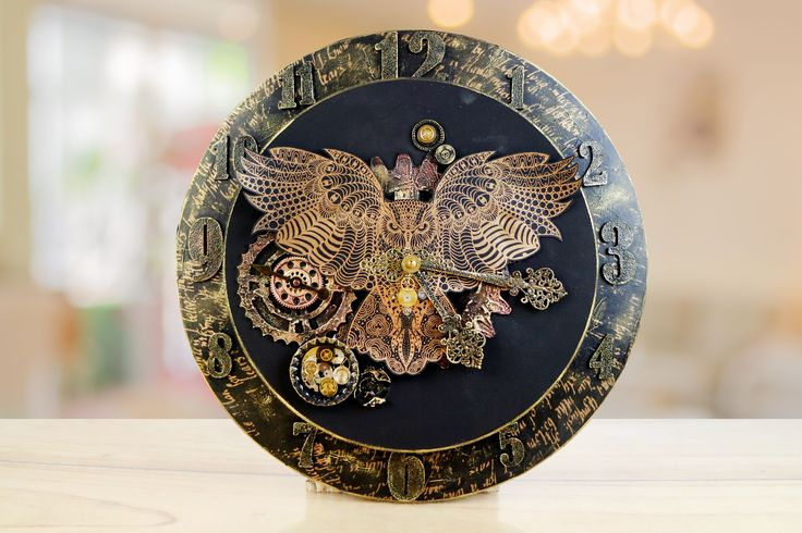 Stunning clock screen printed using the Screen Sensation with the Antique, Alphanumeric and Wisdom Screens