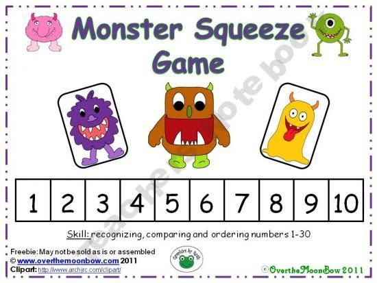 Ordering Numbers 1-30 Monster Squeeze Game PreK-2nd grade