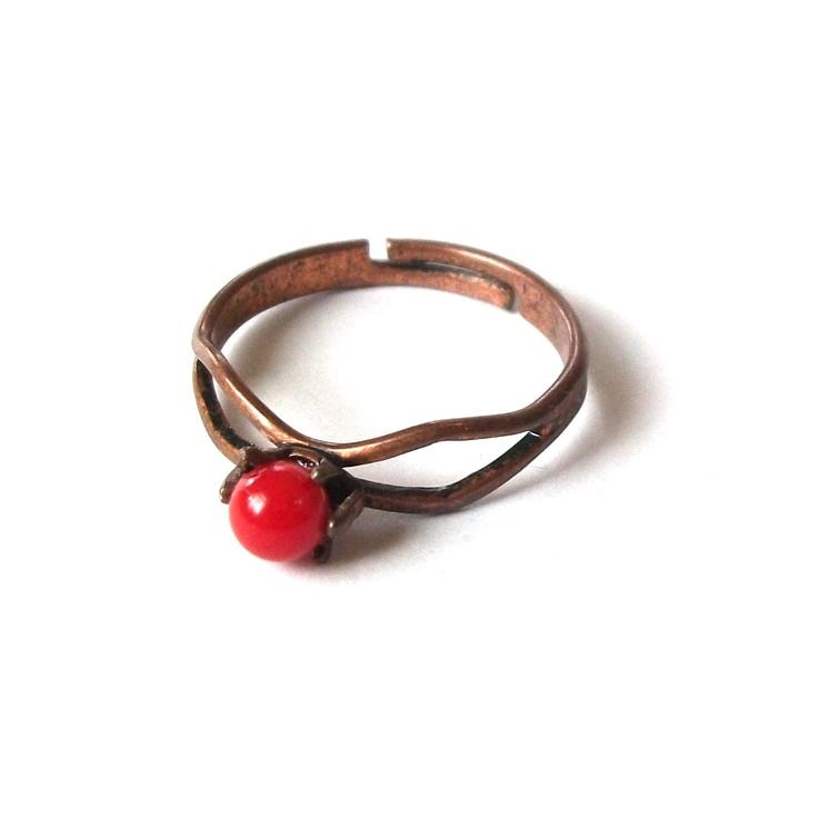 Inel coral 777 de red.beads Breslo
