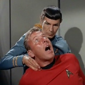 """Vulcan Nerve Pinch - A technique used by Spock (who is part Vulcan) that applies pressure to a victims neck and renders them unconscious.   Appearing in the """"Spock: Challenge"""" video."""