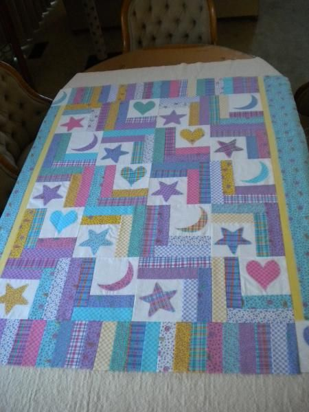 Cute ideas for baby quilts...OR PHOTOS IN HEART/STAR/MOON SQUARES