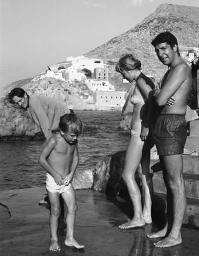 """leonard cohen and marianne ihlen, of """"so long, marianne"""" fame, i suppose, in Greece, 1960."""