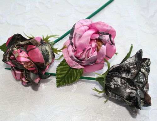 Pink Snowfall Camo Rosebuds!!!!! Can be made in 13 colors or designs.  This rose is perfect for your camo wedding, rustic wedding, or to decorate something special. Each of the 16 petals are...@ artfire