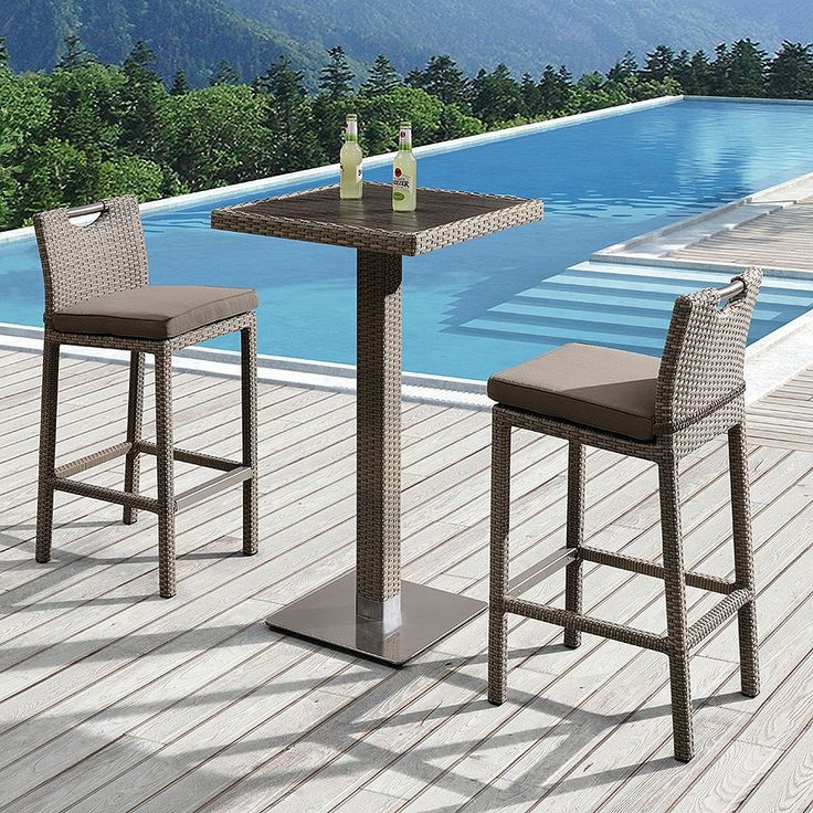 Armen Living Stewart Outdoor Rattan, Teak, and Patio Pub Table