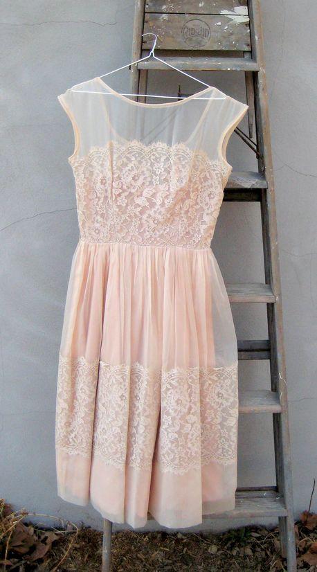 Vintage blush lace dress clothes pinterest ashley for Blush vintage wedding dress