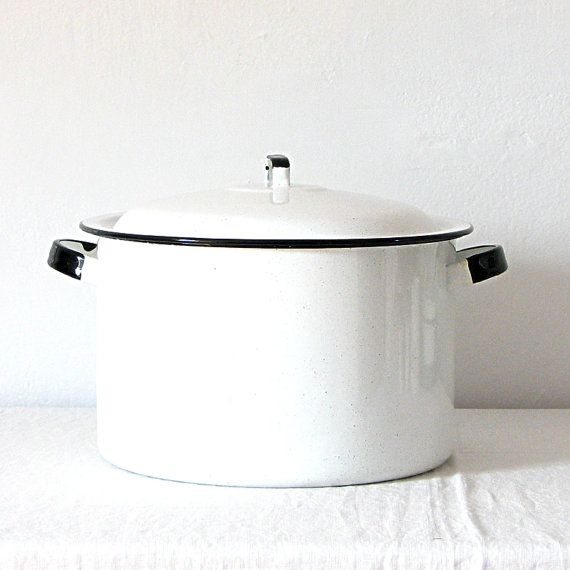 Vintage Enamelware Stock Pot White Enamelware Large Stock Pot Stock Pot with Lid Enamelware Country Farmhouse Rustic Cookware from ETSY.COM