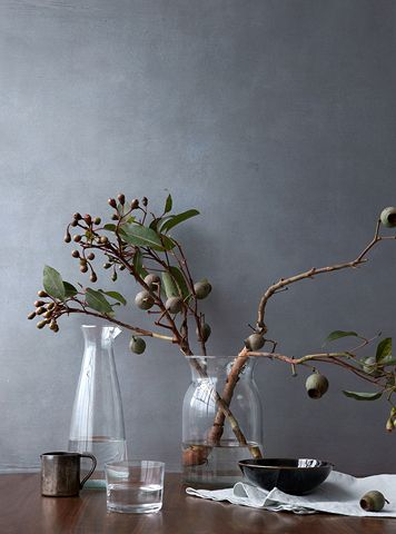 vases with dried branches