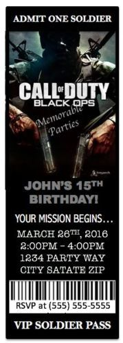 8-Pack-Call-of-Duty-BLACK-OPS-Birthday-Party-Invitations-W-Envelopes-CUSTOM