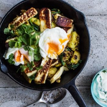 Curry Crushed Potatoes with Haloumi and Poached Egg