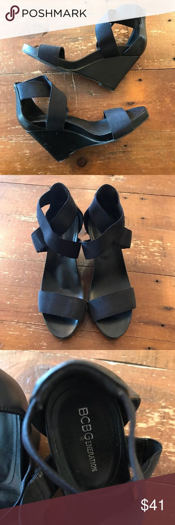 BCBG Comfortable Black Strappy Wedges Size 6.5 I love receiving offers through the offer button! good condition, as seen in pictures! Fast same or next day shipping! Open to offers but I don't negotiate in the comments so please use the offer button! Check out the rest of my closet for more Adidas, Lululemon, Tory Burch, Urban Outfitters, Free People, Anthropologie, Victoria's Secret, Sam Edelman, Topshop, Asos, Revolve, Brandy Melville, Zara, and American Apparel!  18.20.13 BCBG Shoes…