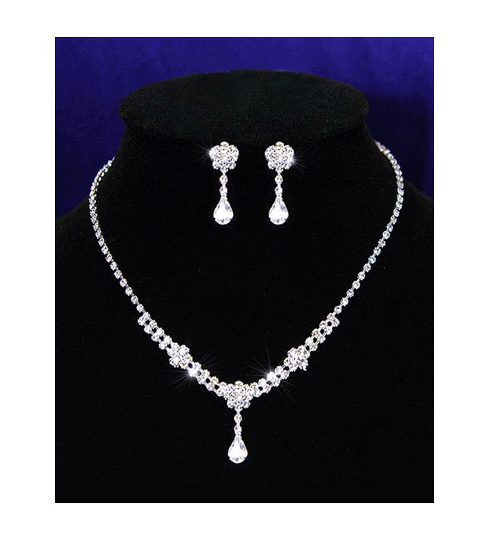 Sophia - Clear Austrian Crystal with single drop, Necklace and Earrings.