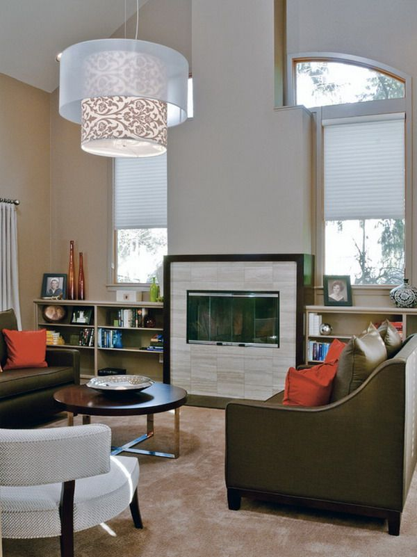 Like Pendant Drum For High Ceiling Space Contemporary Living Room By Jason Ball Interiors LLC