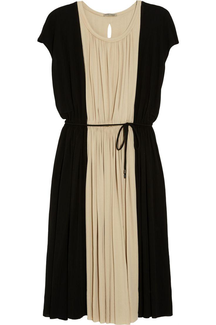 Color-block crepe-jersey dress
