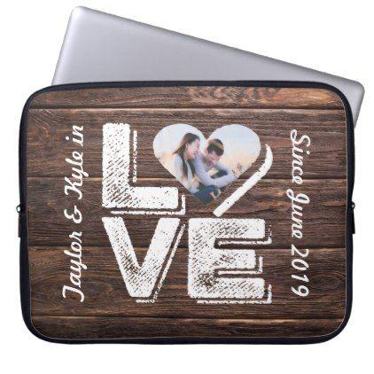 #Love Rustic Woodland Photo Heart Frame Monogram Laptop Sleeve - #bridal #shower #gifts #wedding #bride