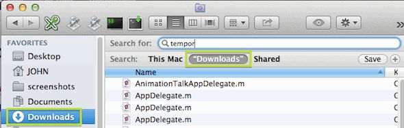 In Mac Finder, search the current folder first.