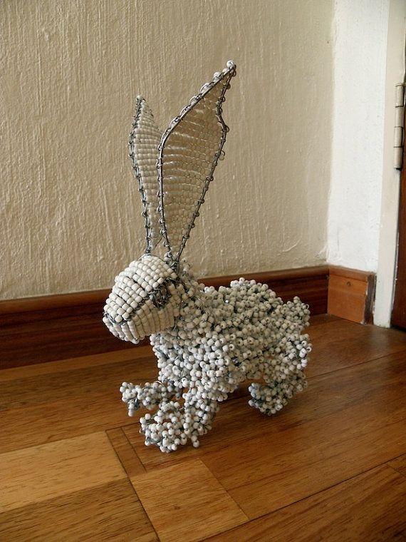 African Beaded Wire Animal RABBIT White от Hadeda на Etsy