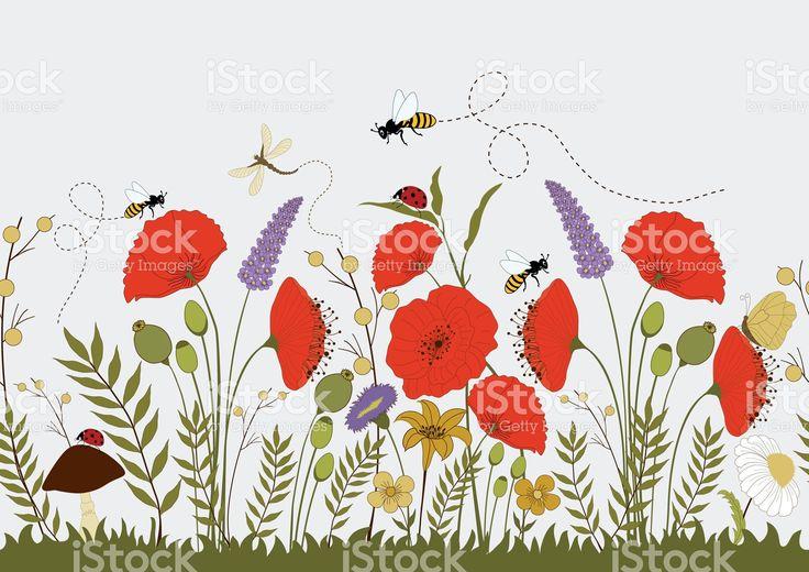 Красочные дикие цветы, бесшовные иллюстрация Сток Вектор Стоковая фотография
