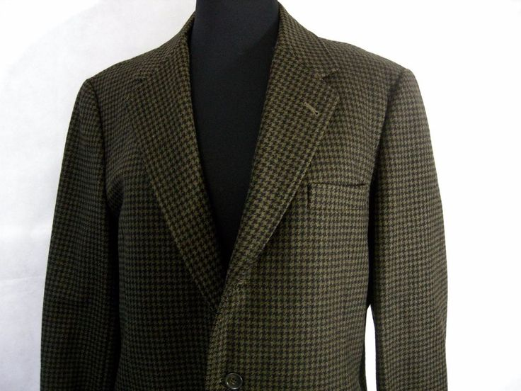 VTG Houndstooth Mens 44 Wool 3 Button Sport Coat Jacket Blazer Hong Kong Pockets #ChanTuckCoTailorandOutfitters #ThreeButton