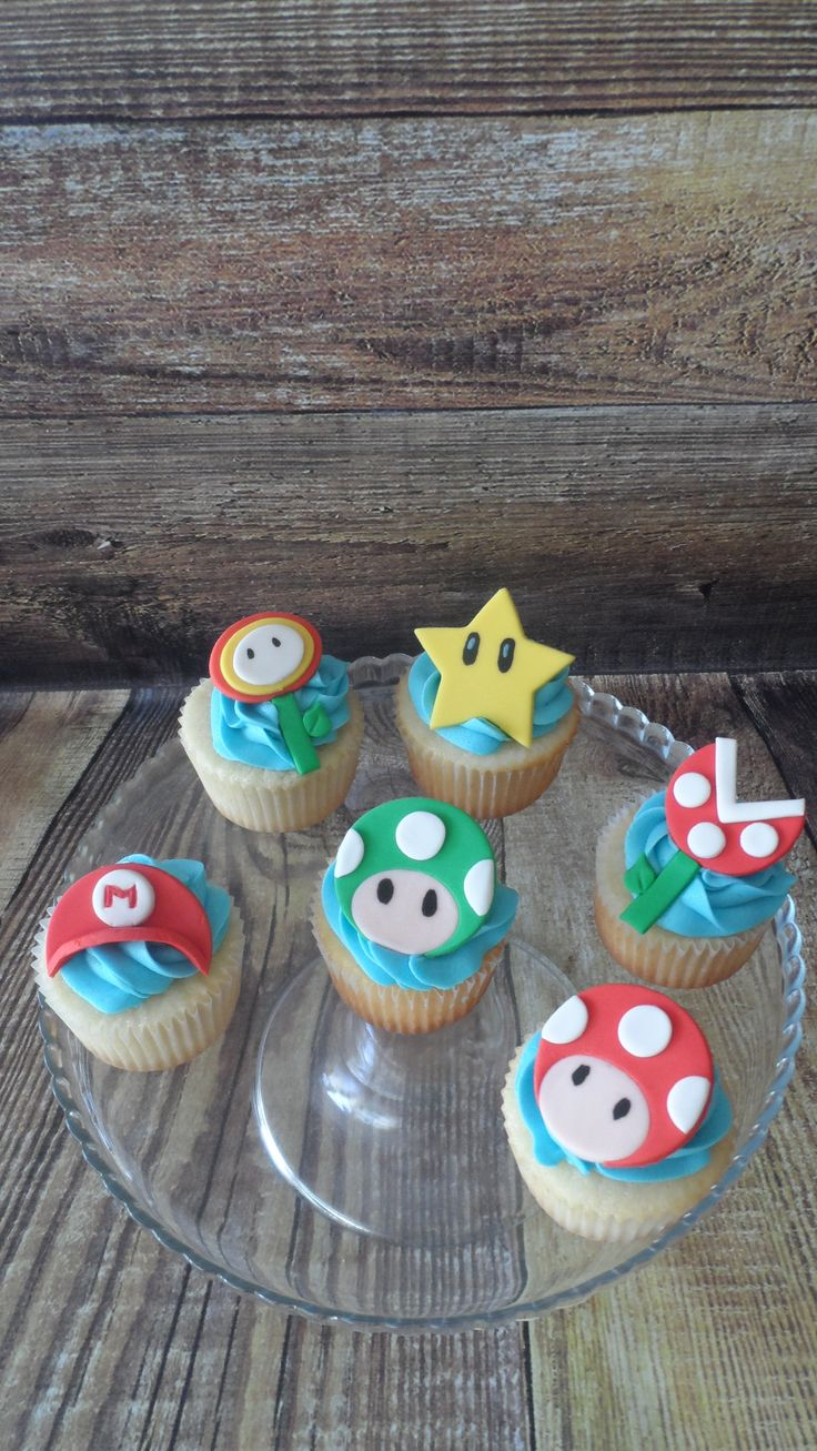 Mario Bros. cupcakes.  Vanilla cupcakes with vanilla buttercream and fondant decorations
