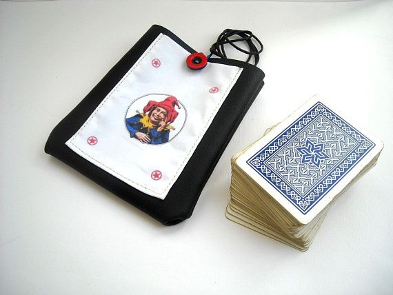 Playing cards case, eco leather deck box, poker cards neck holder, card deck holster with lanyard, gifts for poker player, mens gift ideas #playingcards #joker #poker #giftideas