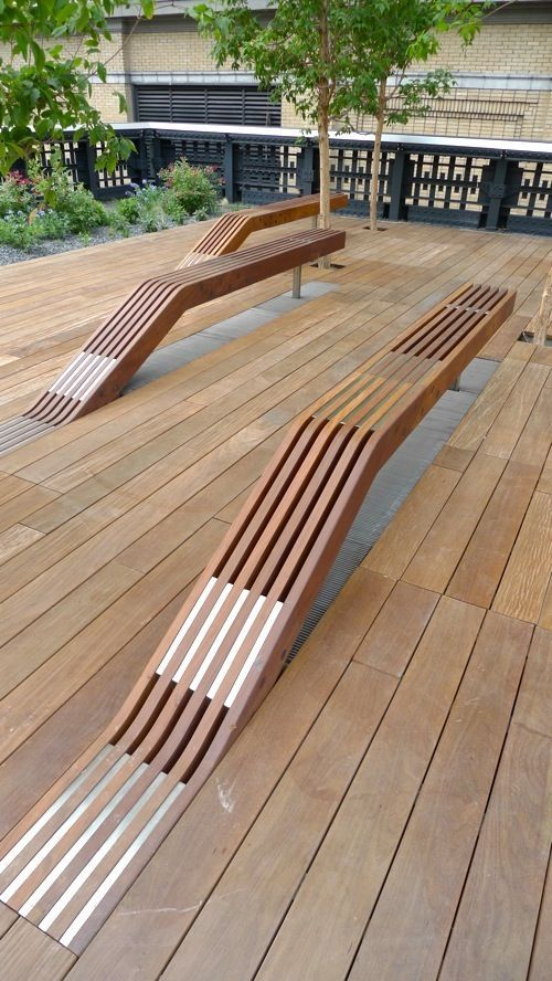 Timber benches at the High Line in New York City by James Corner Field Operations and Diller Scofidio + Renfro