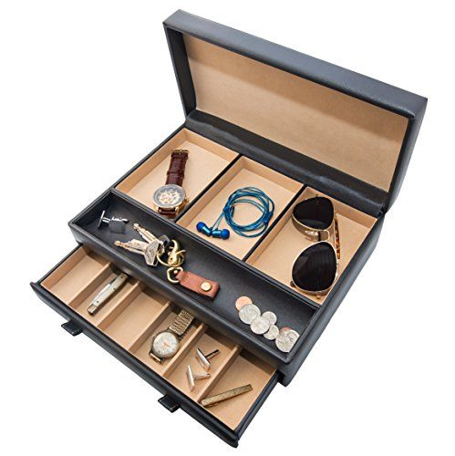 Stock Your Home Mens Dresser Top Valet- Jewelry Organizer Chocolate Faux Leather-10 Compartments - http://www.jewelryfashionlife.com/stock-your-home-mens-dresser-top-valet-jewelry-organizer-chocolate-faux-leather-10-compartments/