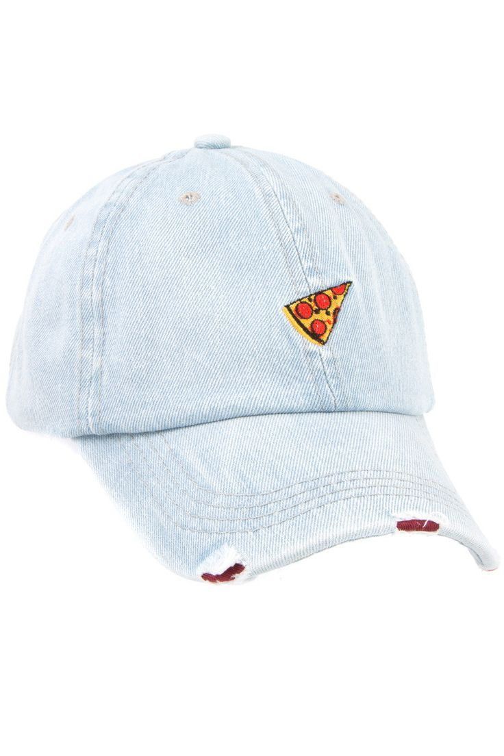 - Distressed Denim Pizza Accent Baseball Cap - 100% Cotton - CA Lead and Nickel Compliant Product - Adult Only