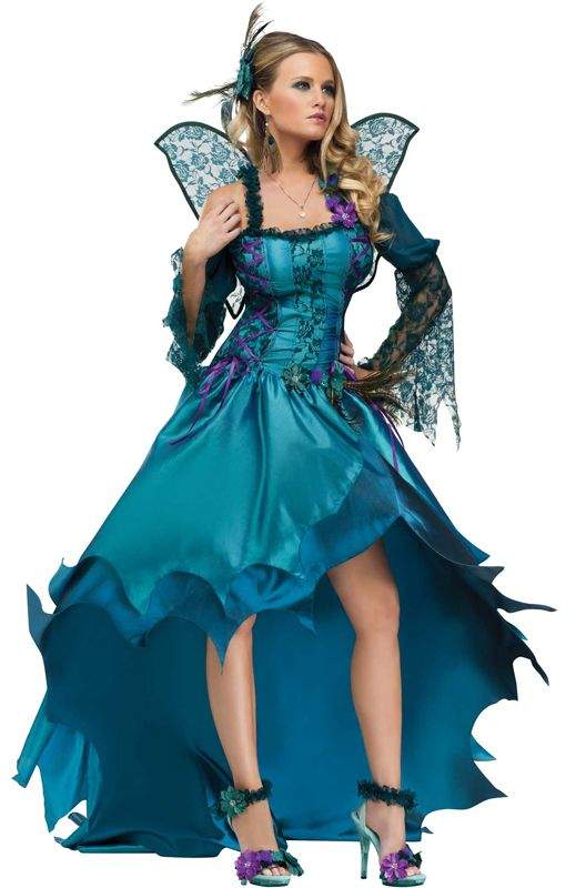 Peacock Fairy Adult Costume includes a gown with back bustles, wings, and a hair accessory. Become a gorgeous garden fairy in this incredible costume!