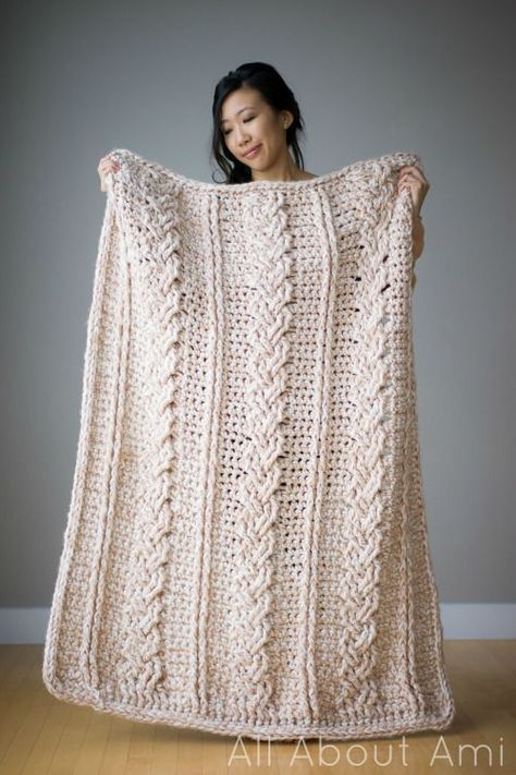 Chunky Braided Cabled Blanket - free crochet pattern and tutorial by Stephanie Lau at All About Ami. Gorgeous.