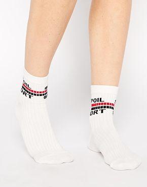ASOS Ankle Socks With Spoil Sport Slogan