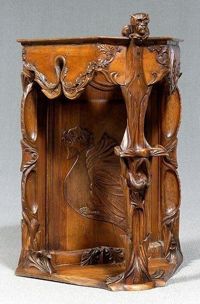 Art Nouveau Corner Cabinet: