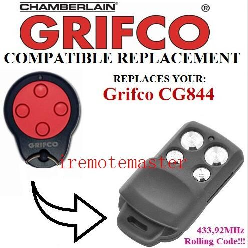 2 pieces/lot ! For Grifco CG844 replacement remote garage door opener/transmitter Rolling code 433.92mhz #Affiliate