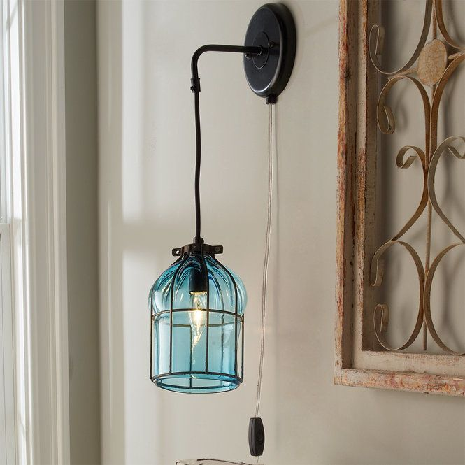 Umanoff Hand Blown Glass Cage Sconce turquoise
