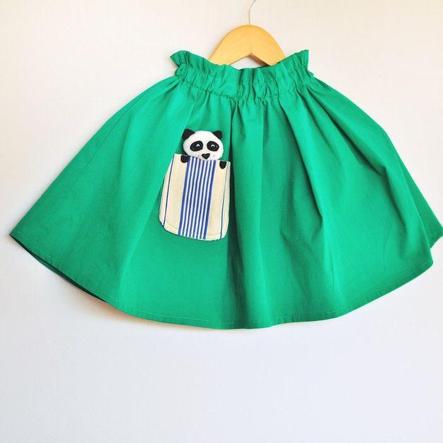 Spódnica zielona z pandą - Lady-Stump - Spódniczki dla dziewczynek
