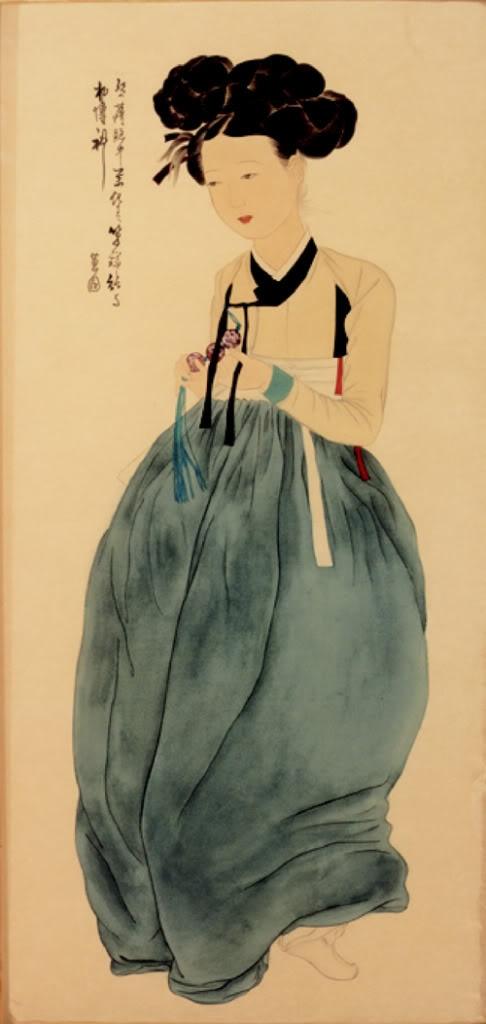 Portrait of a Beauty  (미인도 美人圖). a giseng by Shin Yoon-bok.