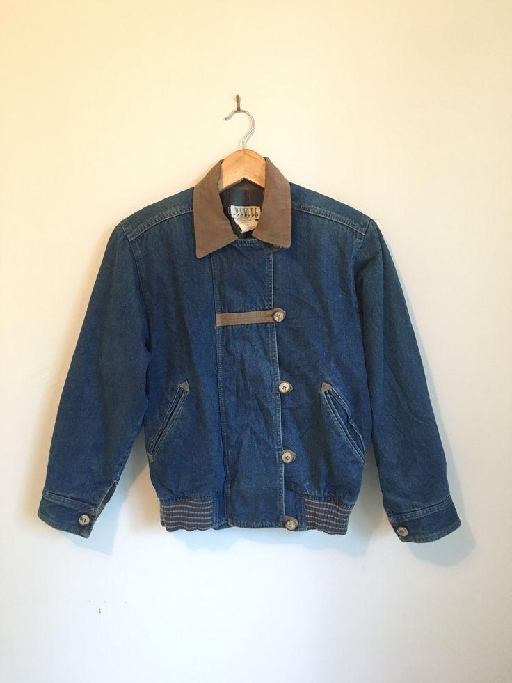 80s Denim Bomber Jacket, Blue Bomber Jacket, Vintage Bomber Jacket, Short Coat, Bomber Coat, Size Small Medium, Grunge, Normcore by MileZeroVintage on Etsy