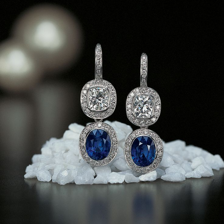 Jeffrey Daniels Diamond and Sapphire Earrings