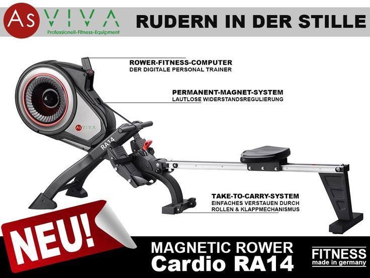 JETZT NEU: AsVIVA | RUDERGERÄT Magnetic Rower Cardio RA14 Das Permanent-Magnet-System ermöglicht diesem Rudergerät ein professionelles Workout - so leise und präzise - das ist Fitness made in germany