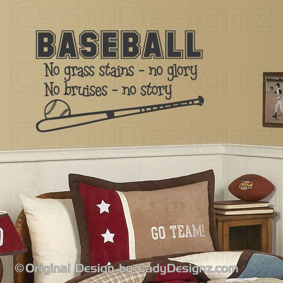 Baseball Sports Vinyl Wall Decal Boys Room Decor by CadyDesignz @Sarah Chintomby Chintomby Chintomby Bullock for cashs new room