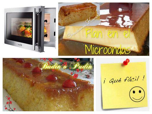 2 recetas en el microondas (flan y budín de pan)