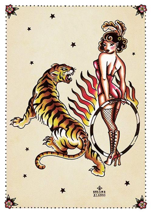 Tiger Tiger by Susana Alonso Pin-Up Girl Tattoo Canvas Art...